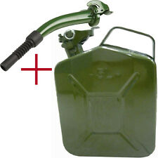 NEW 5 L LITER JERRY METAL CAN FOR PETROL DIESEL OIL FUEL WATER CONTAINER + SPOUT