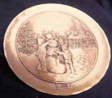 Wendell August Forge Bronze Christmas Plate Snowman 1989 Building A Snowman #848