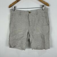 H&M Mens Linen Shorts 33 Grey Bermuda Drawstring Zip Closure Pockets