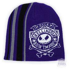 Disney Parks Jack Skellington Knit Beanie Hat for Adults Purple Cap