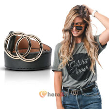 Women's Leather Belts w/Gold Double O-Ring Buckle Waist Belts For Jeans S M L XL