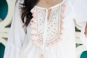 NWT LILLY PULITZER BOHO SHANDY TOP WHITE & PEACH PINK TASSELS XL NEW