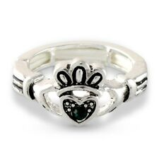 NEW Irish Claddagh Celtic Heart Hands Green Crystal Stretch Ring Promise Lucky