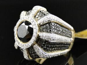 Mens Yellow Gold Round Cut Black White Diamond Solitiare Pave Designer Ring 9...