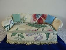 Vintage Handmade Dolls Large Upholstered Sofa Size 12.5 x 6 x 5 inches  VGC