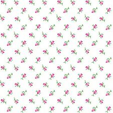 Fabric Rosebuds Pink on White Flannel by the 1/4 yard BIN