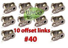 10 Offset Links #40 For Roller Chain #40, Go Karts, Mini Bikes, 4X4