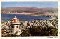 Haifa Israel Postkarte ~1950/60 Blick auf die Bucht Turm vom Schrein des Bab