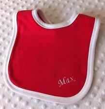 Personalised Red & White Baby Bib. Christmas Bib. Great Baby Gift