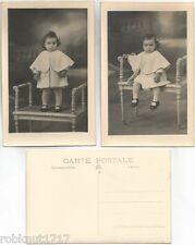 LOT 2 CPA PHOTO papier Riviera Guilleminot belle petite fille sur chaise [849 R]