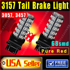 2 X Car Pure Red 3157 Tail Brake Stop Light 68smd LED Lamp 3057 345 74157 3047