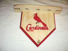 Baseballs Cardinals home plate display shelf for 3 balls 2 bats