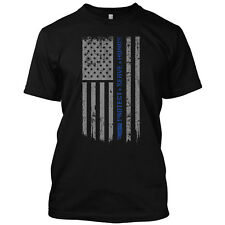 Thin Blue Line Flag Police Lives T Shirt Patriotic Cops USA Tee