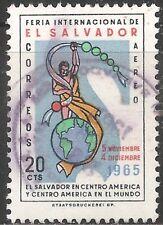El Salvador Air Post Stamp - Scott #C228/A193 20c Blue & Multi Canc/LH 1965