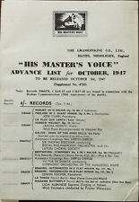 His Master's Voice Advance List Fold-out October 1947