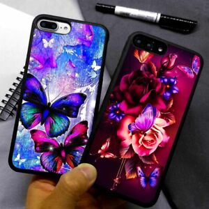 New Butterfly & Flower Design ART Silicone Case Cover For iPhone Samsung Huawei