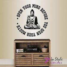 Vinyl Wall Decal Open Your Mind Buddha Quote Wisdom Yoga Meditating Buddha 122