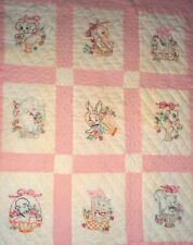 VINTAGE PINK & WHITE BABY QUILT EMBROIDERED ANIMALS AMISH QUILT LANCASTER PA