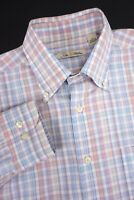 PETER ♛ MILLAR Spring Summer Plaid Shirt Pink Purple Blue White  Medium MINT EUC