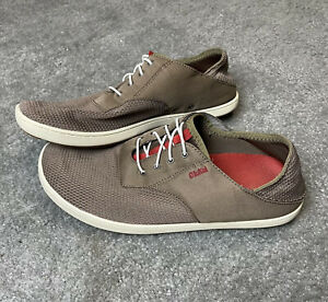 OluKai Nohea Moku Mens No Tie Brown Casual/Boat Shoes - Size US 10