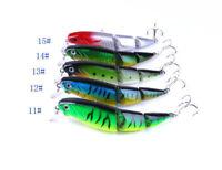 1X 3 Section Multi Jointed Fishing Lure Bait Lifelike Bass Treble Hook 10.5cm GB
