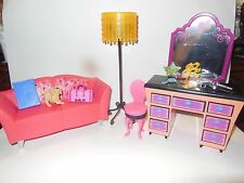 BARBIE GLAM VANITY COUCH LAMP CHAIR AND ACCESSORIES