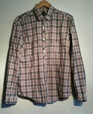 Hugo Boss pink & grey check shirt long sleeve with fold up button tabs, Large