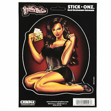 Highway Outlaw Poker Pin Up Girl feel N Lucky emblema adesivo decal sticker Nuovo
