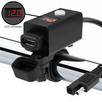 Motorcycle SAE to USB Charger Port Voltmeter Cable Adapter ATV UTV 2.1A USB
