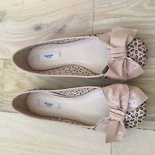 4bca0ba641 Prada Patent Leather NWOB Perforated Floral Bow Flats Beige Nude 7.5