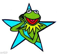 "3"" Muppets kermit hand on chin in a blue star fabric applique iron on character"