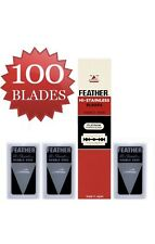 100 FEATHER MADE IN JAPAN Hi-Stainless Platinum Double Edge Razor Blades Red Pac