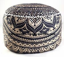 Indian Black Gold Ombre Mandala Footstool Round Pouf Cover Ottoman Cover Pouffe