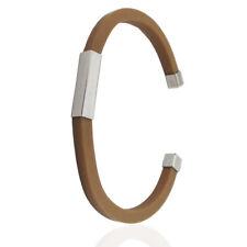 Bracciale unisex rigido cinturino caucciù marrone con terminali e targa argento