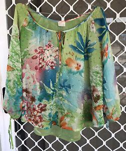 VINTAGE Camilla Long Sleeve Blouse One Size $4 EXPRESS Franks Embellished Shirt
