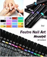 LOT 8 Feutre Nail Art MeautyG - déco dessin sur ongles - 16 couleurs différentes