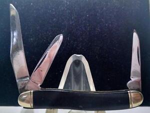 Vintage Boker 8113 Black Plastic Three Blade Stockman Jack (Looks Unsharpened)