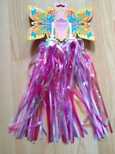 Pair of Pink Childrens Child's cycle / bike handlebar sparkle streamers tassles