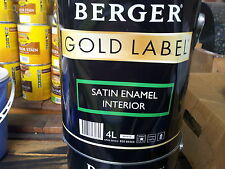 BERGER made/by/dulux 4 litre SATIN INTERIOR oil enamel white colour paint