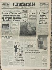 L'Humanité - (7 mai 1963) Zone bleue - hausses des tarifs - Poulidor - Réunion