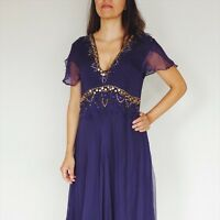 SFX couture Purple Summer party Dress Midi Gold Embroidered Size M/L 100% Silk