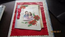 Christmas Greetings to my Wife Silk Lace LG  Old VINTAGE Greeting CARD Craft