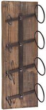 4-Bottle Wall Mount Wine Storage Rack Rustic Industrial Styling Weathered Oak