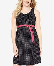 New-Medium-MOTHERHOOD MATERNITY- Printed Sleeveless Dress Black Polka Dots Belts