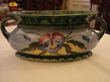 Jardiniere Keramik Jugendstil tolle Farben Stiefmütterchen Schale Blumentopf