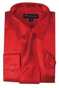 Men's  Shiny Satin Dress Shirt With Tie and Handkerchief Set Style SG-08