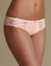 M&S Eyelash Lace Brazilian Knickers Size 14 RRP £8 Pink