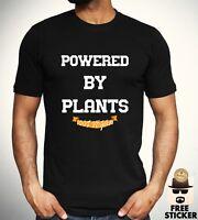 Powered By Plants T-shirt Vegetarian Vegan Healthy Gym Tee Funny Joke Top Mens
