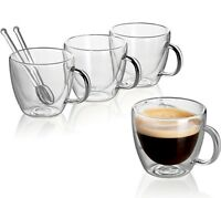 Clear Glass Set Double Wall Coffee Mug Espresso Cup 5.4 oz + Glass Spoons