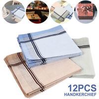 12pcs Mens Handkerchiefs Handkerchief Hanky 100% Cotton Assorted Pocket Square
